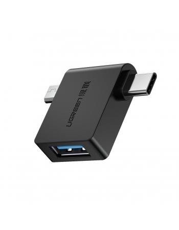 Adaptador Micro USB/USB-C para USB-A 3.0 com OTG